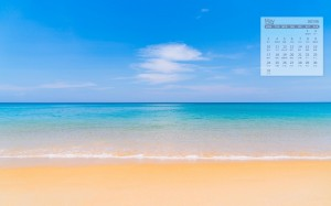 2021年5月蓝色大海唯美日历壁纸