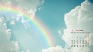 2020年2月浪漫雨后彩虹高清日历壁纸
