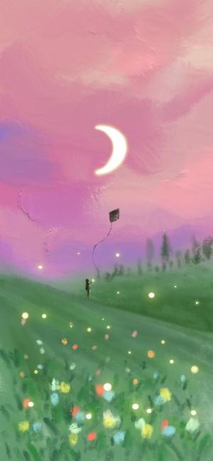 唯美油画风手绘插画风景壁纸