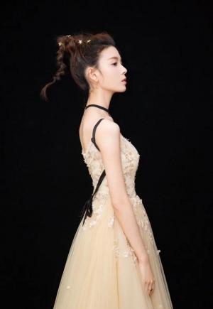 陈瑶米色礼服裙闪耀动人图片