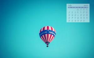 2021年7月唯美浪漫热气球日历壁纸