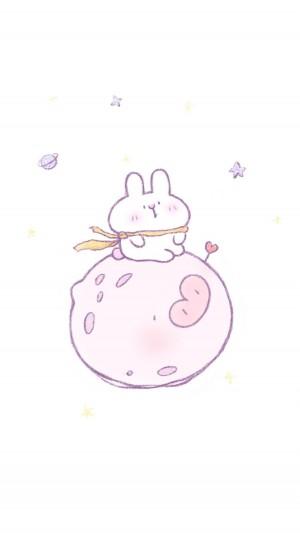 萌系小兔子卡通清新简约手机壁纸