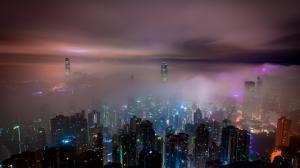 香港摩天大楼城市夜景壁纸