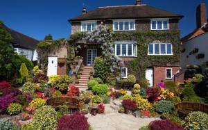 漂亮花园别墅高清桌面壁纸