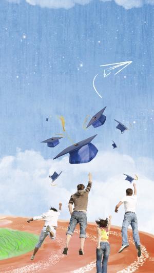 蓝色学士帽五四青年节壁纸