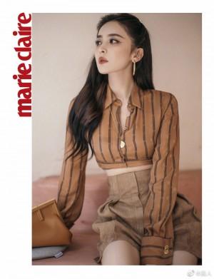 古力娜扎咖色条纹短衬衫美艳动人写真图片