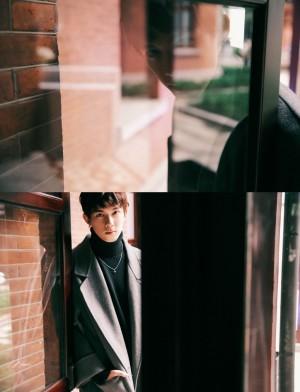 吴磊灰色大衣帅气写真图片