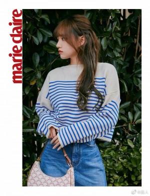 程潇蓝色条纹长袖T恤清新自然写真图片