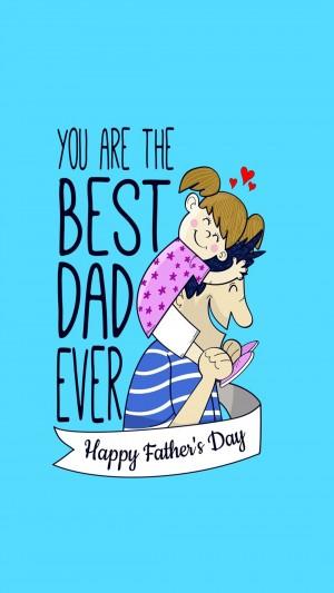 国际父亲节卡通手绘父女俩温馨手机壁纸
