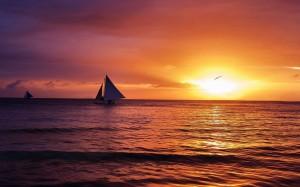 傍晚唯美夕阳景色感恩背景