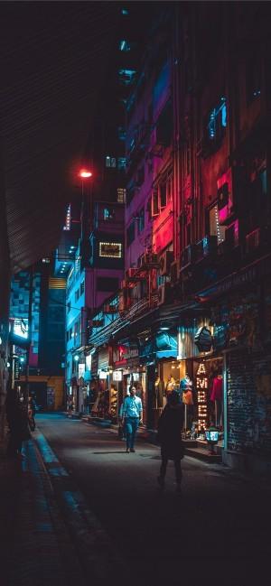 香港炫彩的街道夜景