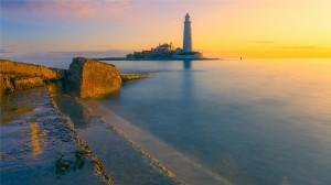 海边唯美灯塔美景图片桌面壁纸