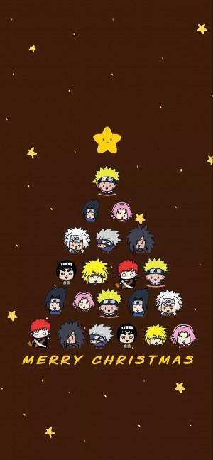 可爱卡通人物圣诞树高清手机壁纸