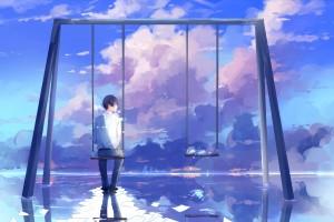 一個男人孤獨場景插畫