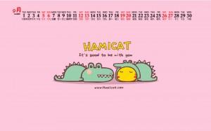 2020年9月哈咪猫和鳄鱼可爱图片日历壁纸