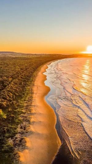 日出时美丽的海岸线唯美风景手机壁纸