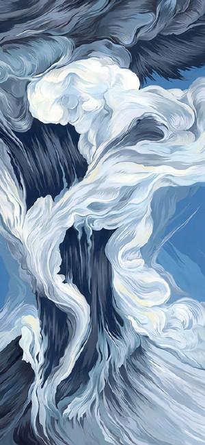 天空云朵海洋手绘高清手机壁纸