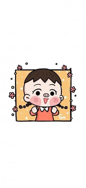 Q版樱桃小丸子人物手绘手机壁纸