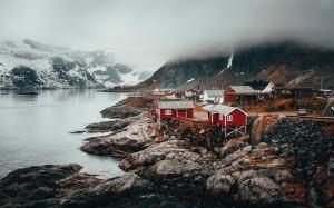 挪威秀美安静小村庄异国风光