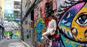 张睿墨尔本充满涂鸦的艺术街道街拍