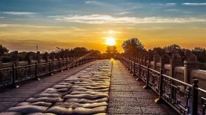 卢沟桥清晨日出唯美高清桌面壁纸