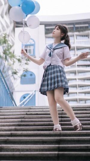 日韩系校服服少女清纯甜美户外写真