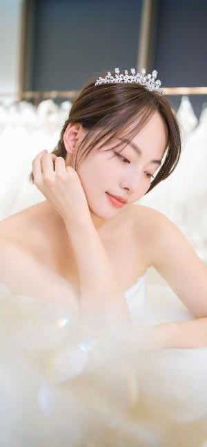 张嘉倪白色婚纱唯美手机壁纸
