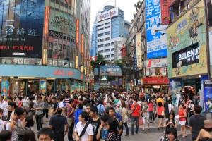 繁华的台北西门町街景桌面壁纸
