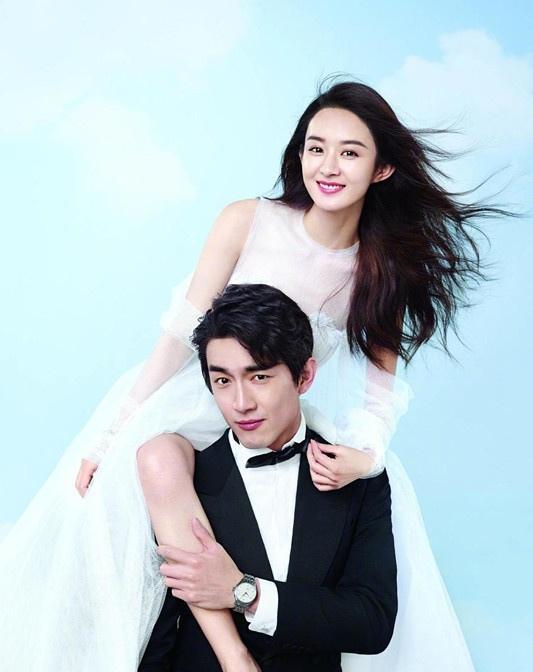 赵丽颖林更新携手拍婚纱写真大片 摸腿搂腰对笑有点甜