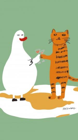卡通呆萌大白鵝趣味表情插畫手機壁紙