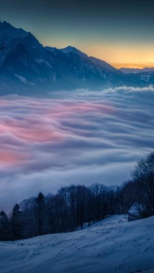 唯美雪山云海河流自然风景手机壁纸