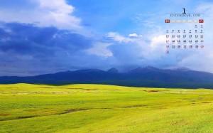 2021年1月内蒙古草原迷人自然风景日历壁纸