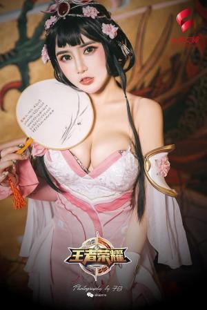 Toutiaogirls头条女神王者甄姬 温心怡粉色古装巨乳性感私房写真