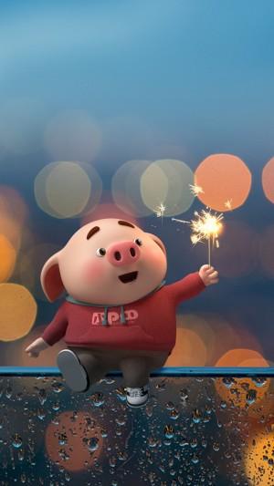 可爱猪小屁玩烟花