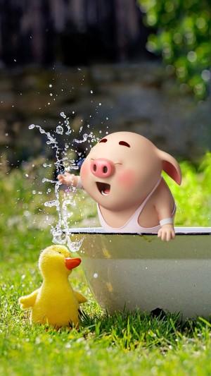 猪小屁夏日戏水清新图片