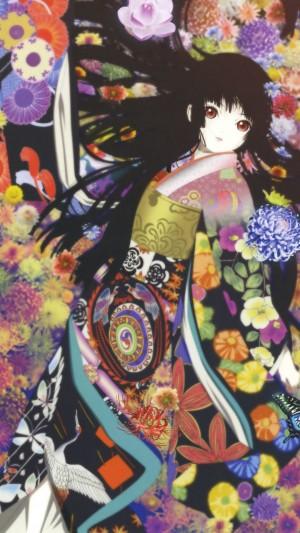 二次元动漫冷艳性感和服美少女手机壁纸