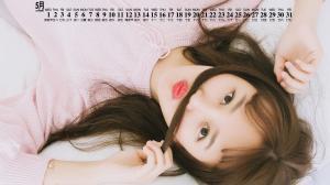 2019年5月清新甜美美女写真日历壁纸