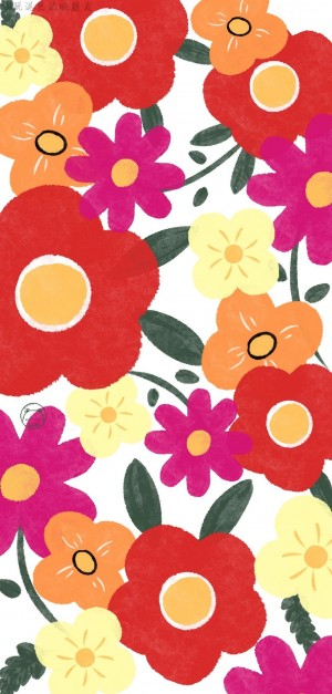 鲜花小清新手绘插画手机壁纸