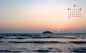 2021年2月日暮黄昏海边迷人风光日历