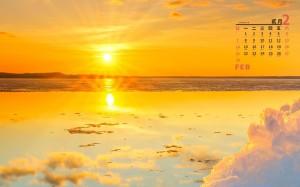 2021年2月海上日出治愈风光日历