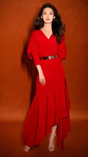 李沁红衣优雅性感高清手机壁纸