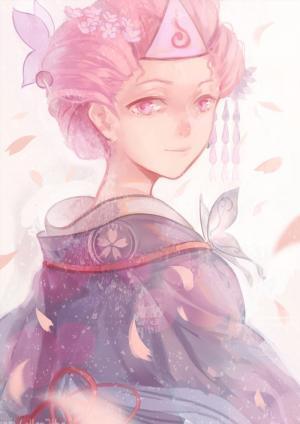 樱花下的女孩插画图片