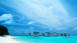 马尔代夫旅途蓝色风光电脑桌面壁纸