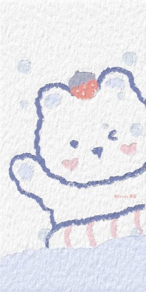 油画风可爱小熊手机壁纸