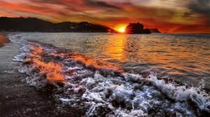 落日海边唯美风景高清桌面壁纸