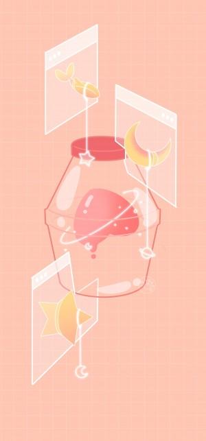 粉色少女心浪漫手绘手机壁纸