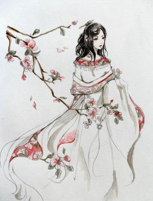 人面桃花手绘美女图片