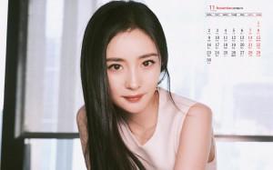 2020年11月杨幂纯净白裙黑长直高清日历壁纸