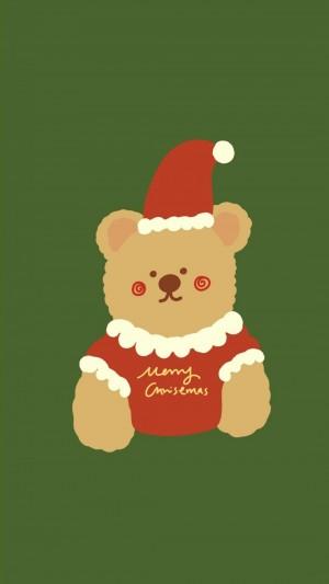 圣诞节超萌小熊背景图
