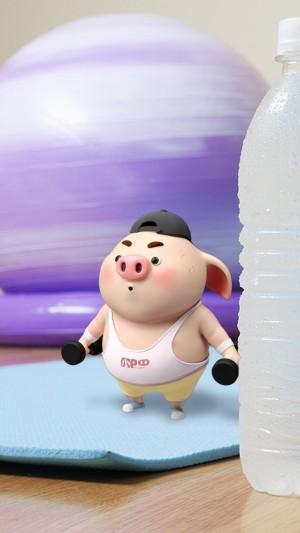 健身的可爱猪小屁卡通图片壁纸